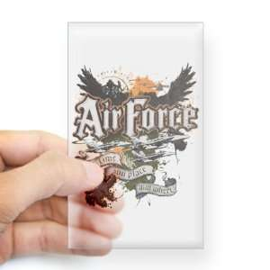 Sticker Clear (Rectangle) Air Force US Grunge Any Time Any