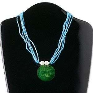 Multi strand turquise blue/green capiz shell necklace