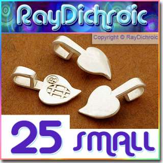 AANRAKU HEART PENDANT BAILS   25 Small Silver Plated