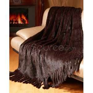 Knit Rex Rabbit Fur Throw   Brown