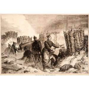 Wood Engraving War Army Trenches Strasbourg Military Franco Prussian