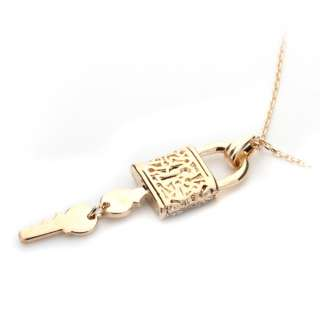 New Silver Key and Lock pendant necklace fashion jewelry