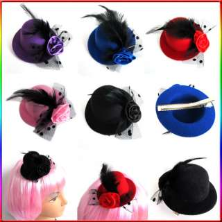 Colors Party Mini Veil Feather Hair Clip Hat top Fascintor Burlesque