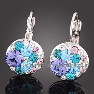 18k white Gold Gp multi swarovski crystal earrings 668