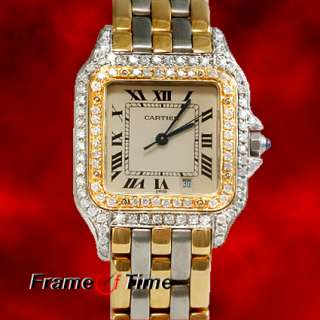 Midsize Panthere Diamond 18K Gold/SS Two Tone 3 Row Panther Watch