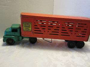 Vintage Structo Cattle Farms Truck Trailer Pressed Steel Nice |