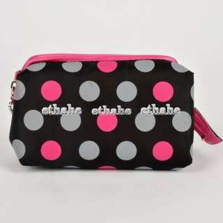 Polka Dots Cosmetic Case Makeup Travel Bag Black E1FB1M