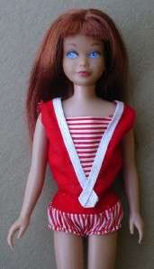 1963 BARBIES LITTLE SISTER SKIPPER DOLL,RED HAIR,ORIGINAL OUTFIT,CASE