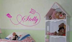Butterfly with name wall sticker decal kid room decor