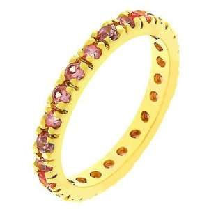 Rose Gold Bonded Eternity Ring with Channel Set Pink Ice Cz in Gold