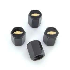 Chevy Gold Logo Black Tire Stem Valve Caps: Automotive