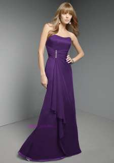 Purple Chiffon Prom/Bridesmaid Cocktail Party Evening Dress Stock UK