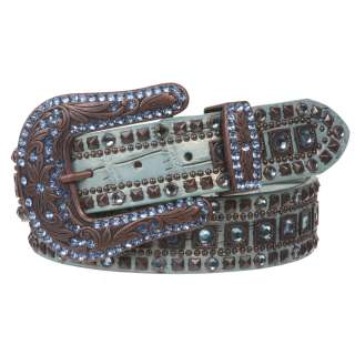 Ladies Western Studded Rhinestone Genuine Leather Belt