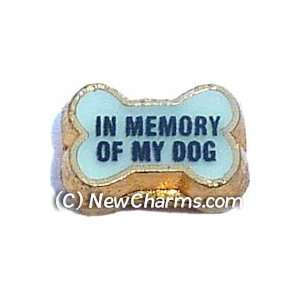 In Memory Of My Dog Blue Floating Locket Charm Jewelry