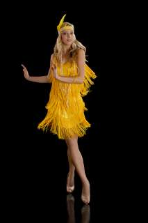 Fringe Flapper Dress. 1920s Charleston. Ladies. Yellow. New