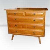 Vintage Mid Century Solid Wood 5 Drawer Dresser