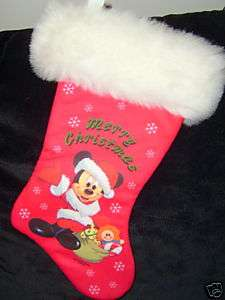 DISNEY MICKEY MOUSE PLUSH CHRISTMAS STOCKING 15 IN NEW