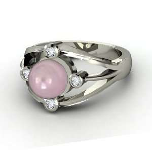 Compass Ring, Pink Cultured Pearl 14K White Gold Ring with