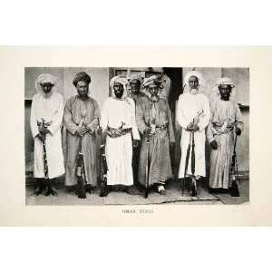 1924 Print Oman Men Arab Muslim Costume Turban Robe