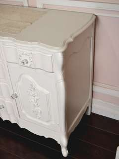 Cottage Chic White Rose Wreath French Style Buffet Credenza Cabinet