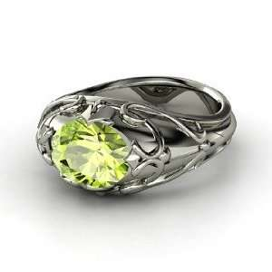 Hearts Crown Ring, Oval Peridot Platinum Ring Jewelry