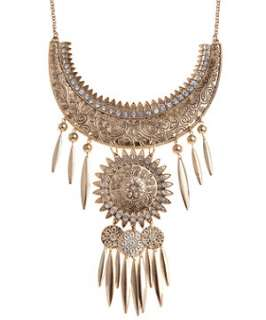 Gold (Gold) Gold Tone Embossed Collar Necklace  249217993  New Look
