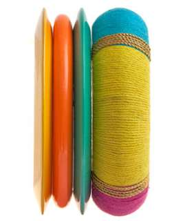 null (Multi Col) Pack of Multi Coloured Plain and Wrapped Bangles