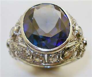 ANTIQUE ART DECO 8.0ct SAPPHIRE DIAMOND ENGAGEMENT RING PLATINUM