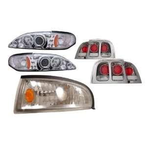 Mustang Chrome LED Halo Projector Headlights /w Amber + Corner Light