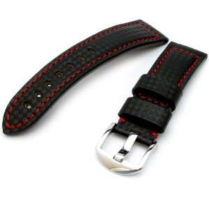Carbon Fiber Watch Band 22mm Black, White Stitching