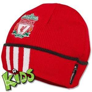 11 12 Liverpool 3 Stripe Woolie Hat   Red   Boys