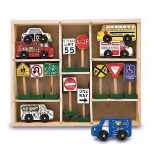 Wooden Vehicles and Traffic Signs Set + Free Gift   Fits Thomas Train