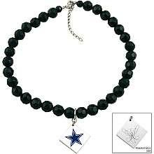 Touch By Alyssa Milano Dallas Cowboys Black Glass Bead Metal Logo