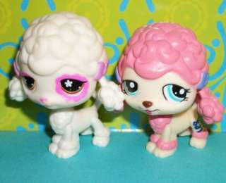 Littlest Pet Shop~POODLE PUPPY DOGS~CREAM #551 & PINK #1520~LPS Lot