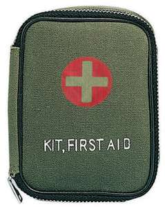 Drab Military/Camping/Hiking Mini Zippered Basic First Aid Kit w/Pouch
