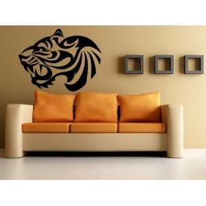 Tiger Head Roar Side View Tribal Animal Design Wall Mural
