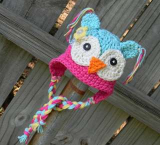 Cute Handmade Owl Newborn Baby Child Girls Boys Knit Hat Cap