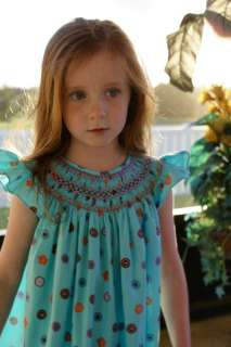 Baby girl smocked turquoise bishop dress 9 mos 16999