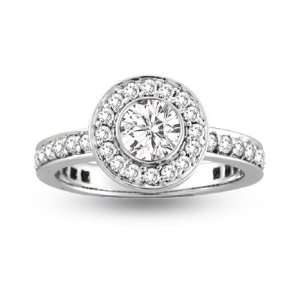 Bezel Set Center Micro Pave Fashion Antique Look Engagement Ring   8