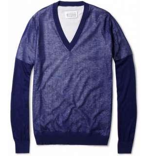 Maison Martin Margiela Layered Cotton V Neck Sweater  MR PORTER