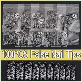 Stripe Pattern Black Acrylic False French Nail Art Salon DIY Tips NEW