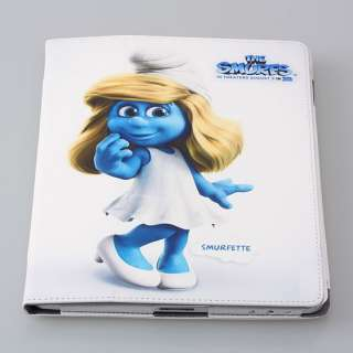 SMURFETTE SMURES MAGNETIC PU LEATHER APPLE IPAD 2 CASE SMART COVER