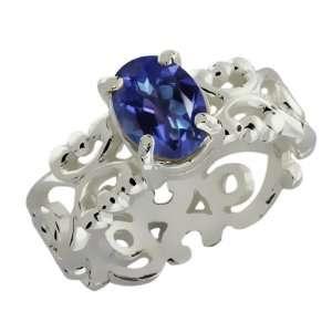 60 Ct Oval Tanzanite Blue Mystic Topaz 10k White Gold Ring Jewelry