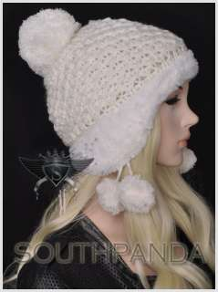 SH Exquisite Pompon Design Girl Beret Beanie Hat Earflaps Ski Faux Fur