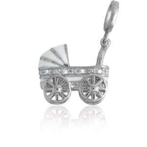 Silver White and CZ Baby Carriage Charm Itâ?TMs Charming Jewelry