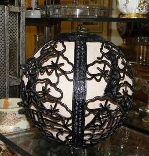 Unusual Antique Japanese Bronze Lantern Lamp Fixture