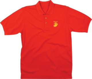 USMC Red Embroidered Marine Corps Logo Military Polo Shirt