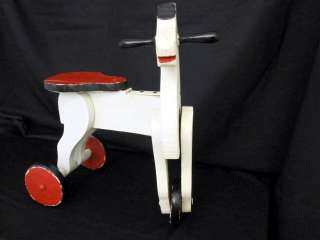 Antique Childs Riding Toy Horse on Wheels Painted Red Black and White