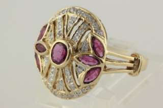 ART DECO YEL GOLD LADYS OVAL SHAPED RUBY & DIAMOND RING