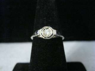 ANTIQUE 14K WHITE GOLD OLD EUROPEAN CUT DIAMOND & SAPPHIRE RING
